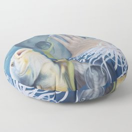 Surreal Life Underwater with Fish and Seahorse Floor Pillow