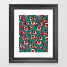 Dark Poppy Floral Framed Art Print
