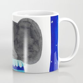 elephant with raindrops in blue watercolor illustration Coffee Mug