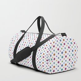 Small Flowers in White Duffle Bag