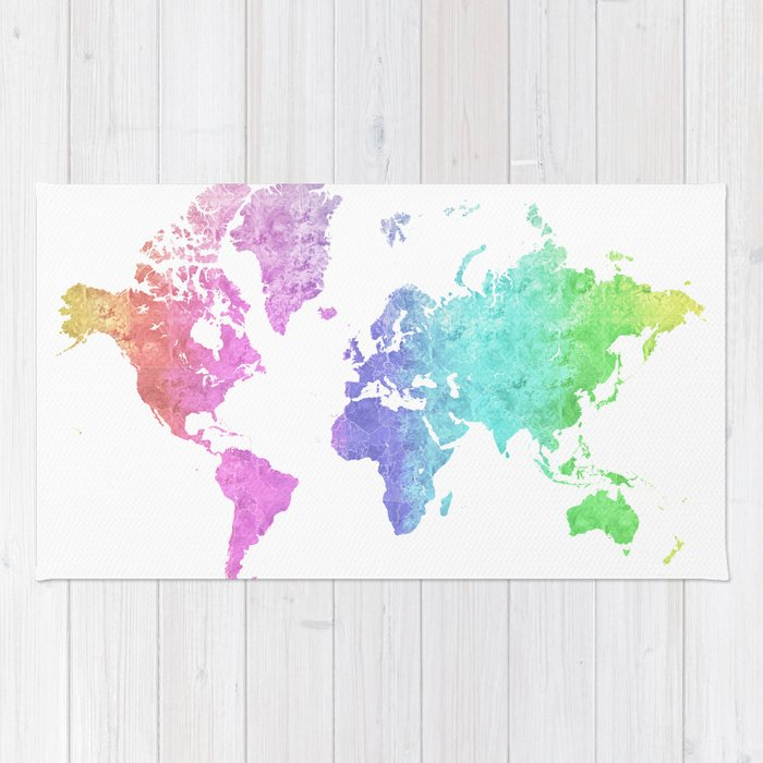 Rainbow World Map In Watercolor Style Jude Rug By Blursbyaishop