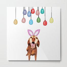 Happy Easter Vizsla Bunny Metal Print