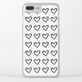 Big Heart Ink Pattern Clear iPhone Case