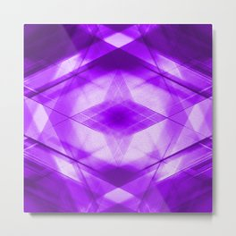 Bright warm triangular strokes of intersecting sharp lines with sapphire triangles and a star. Metal Print