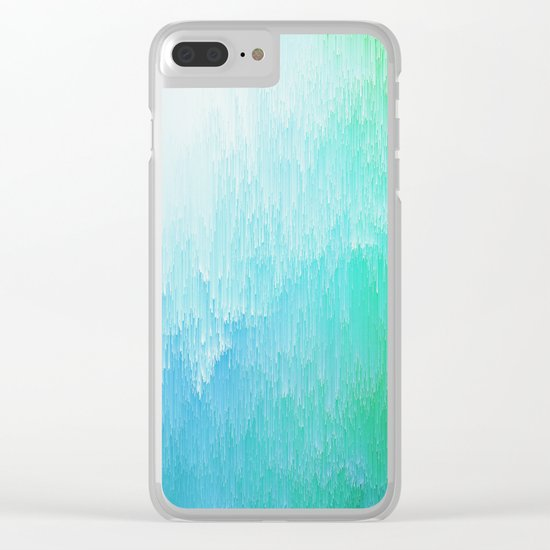Rainforest - Blue & Green Glitch Clear iPhone Case