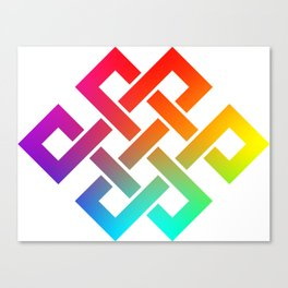 Eternity knot in rainbow colors Canvas Print