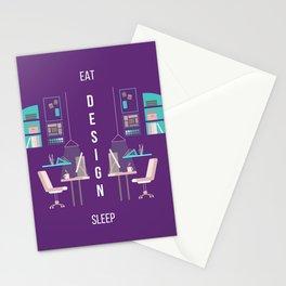 Eat Design Sleep  - Purple Stationery Cards