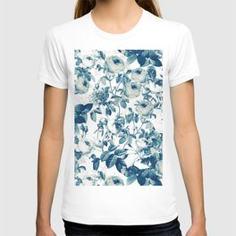 Vintage & Shabby-chic - floral blue roses flowers rose T-shirt