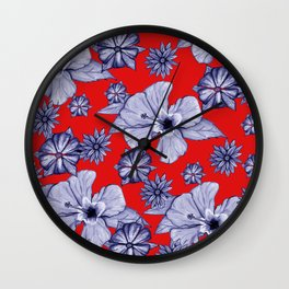 Red Blue: Floral Wall Clock