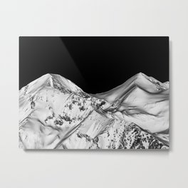 Two Peaks Black and White Abstract Landscape Metal Print