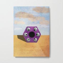 Purple Hexagon Monster Metal Print