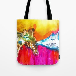 Giraffe Kiss Tote Bag