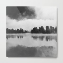 Morning fog above the lake in black and white Metal Print