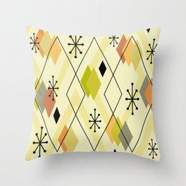 Mid Century Modern Scattered Diamonds Chartreuse Orange Throw Pillow