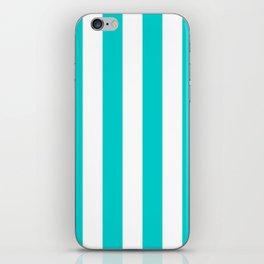 Vertical Stripes - White and Cyan iPhone Skin