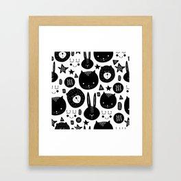 Black and White Animals Framed Art Print