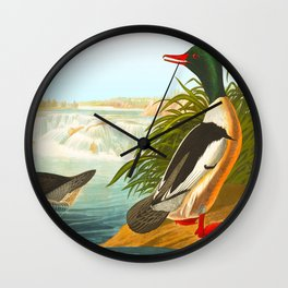 Goosander or Common Merganser Wall Clock