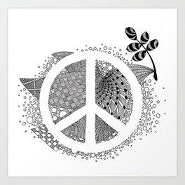 Zentangle: Peace Art Print