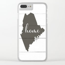 Maine is Home - Charcoal on White Wood Clear iPhone Case