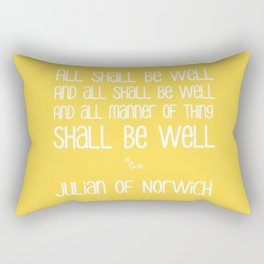 All Shall Be Well - Inspirational Julian of Norwich Quote Typography in Sunshine Yellow Rectangular Pillow