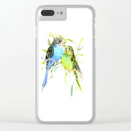 Budgies, love bird green blue decor Clear iPhone Case