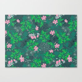 Forest Wildflowers at Daybreak / Emerald Background Canvas Print