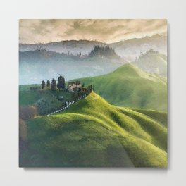 Rolling Green Hills and Wine Vineyards of Tuscany, Italy landscape painting Metal Print