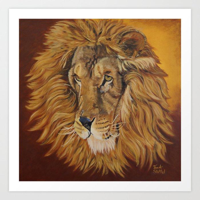 Majestic Lion Art Print By Tinaastoffelarts