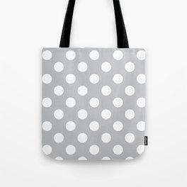 Silver sand - grey - White Polka Dots - Pois Pattern Tote Bag