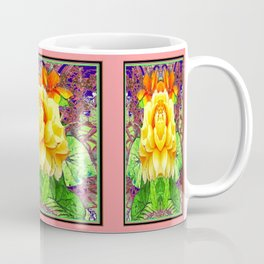 Decorative Woodland Yellow Flower With Coral Edges Abstract Coffee Mug