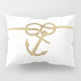Elegant faux gold white nautical knot anchor watercolor splatters Pillow Sham