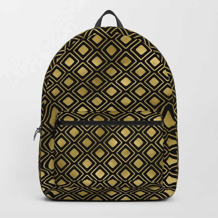 Black and gold geometric abstract pattern I- Luxury design for your home Backpack