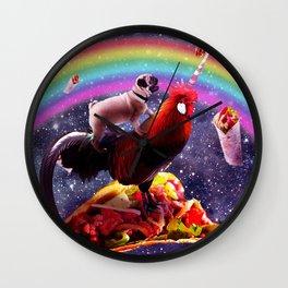 Space Pug Riding Chicken Unicorn - Taco & Burrito Wall Clock