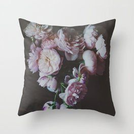 English Roses Still Life - Dark Number One Throw Pillow