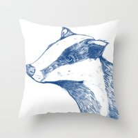 badger Throw Pillows featuring Badger by Emily Stalley