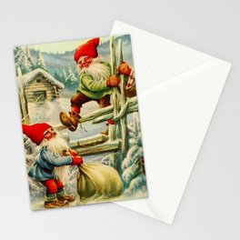"""""""Over the Wooden Fence"""" Gnomes by Jenny Nystrom Stationery Cards"""
