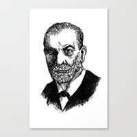 freud Canvas Prints featuring Freud by Fortunate Tuna