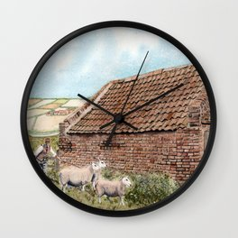 Farm Shed with Sheep Wall Clock