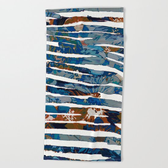 floral cut into stripes Beach Towel