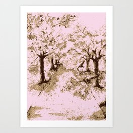 A Walk under the Cherry Trees Art Print