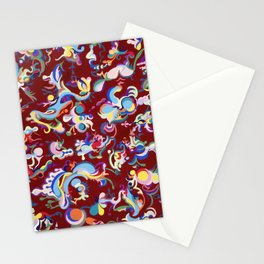 Red Abstract Tapestry Stationery Cards