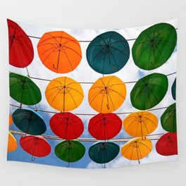 colorful umbrella Wall Tapestry