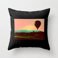hot air balloon Throw Pillows featuring Hot Air Balloon by Derek Fleener