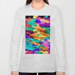 pink purple green yellow brown painting texture abstract background Long Sleeve T-shirt