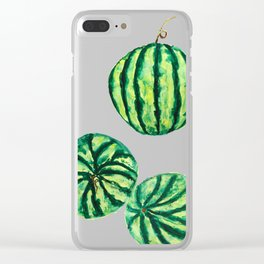 3 watermelon watercolor Clear iPhone Case
