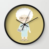 golden girls Wall Clocks featuring Girls in their Golden Years - Sophia by Ricky Kwong