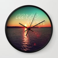 carpe diem Wall Clocks featuring carpe diem by Sylvia Cook Photography