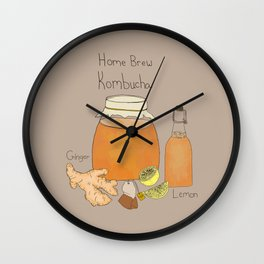 Home Brew Kombucha Ginger and Lemon Wall Clock