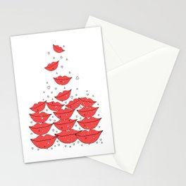 Red happy lips  Stationery Cards