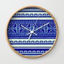 nordic pattern with singing birds in blue by mpzstudio
